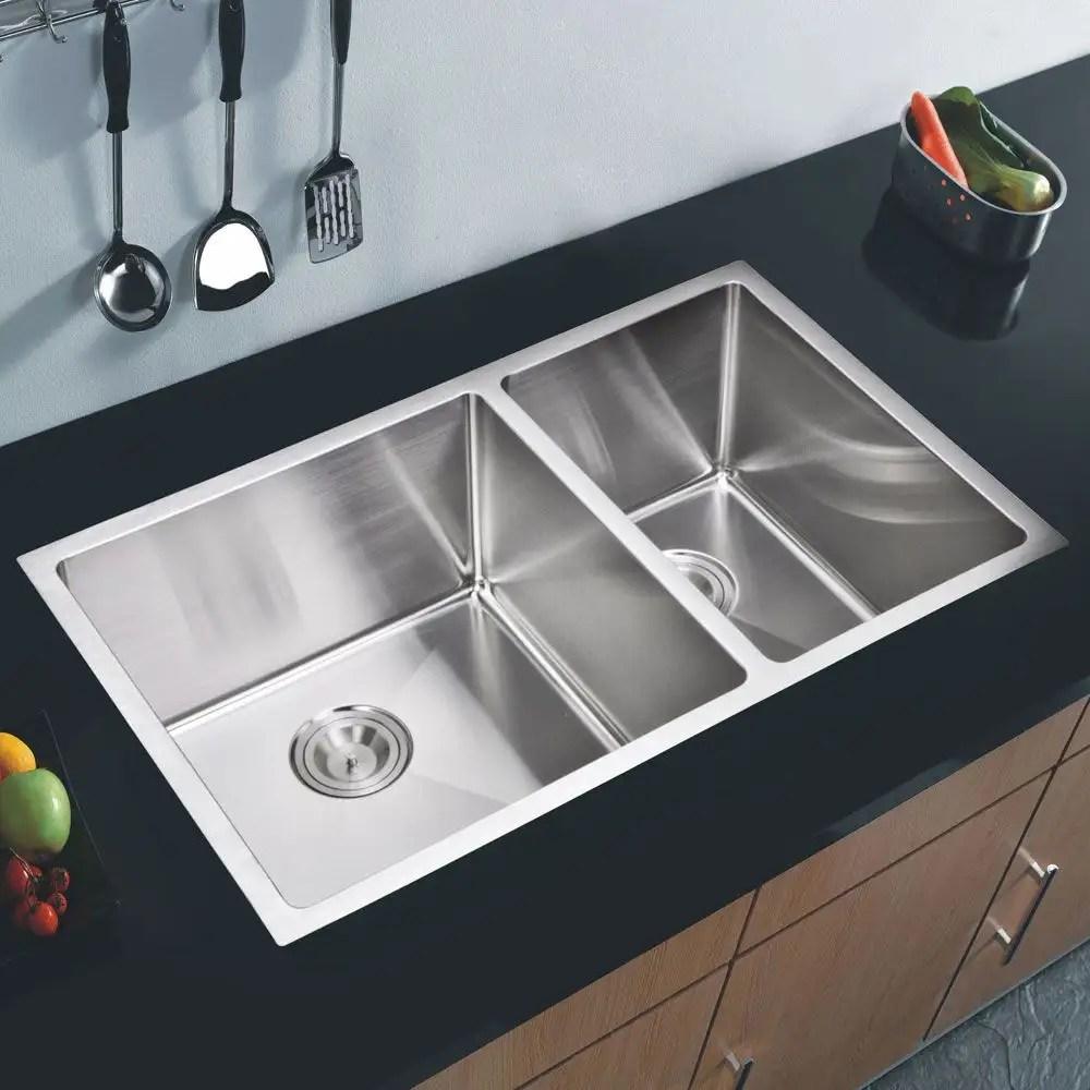 stainless steel 32 inch 15mm corner radius double bowl undermount kitchen sink