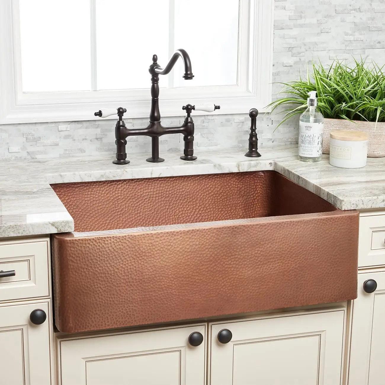 30 inch copper single bowl apron farmhouse sink