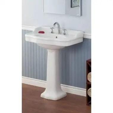 large antique pedestal sink lavatory 8 inch faucet drillings white