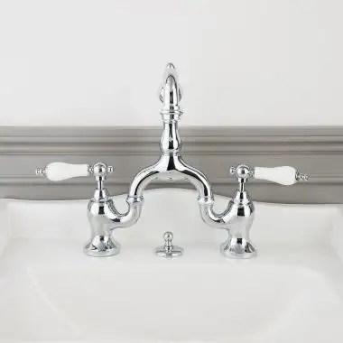 high spout 8 inch bridge lavatory faucet porcelain lever handles
