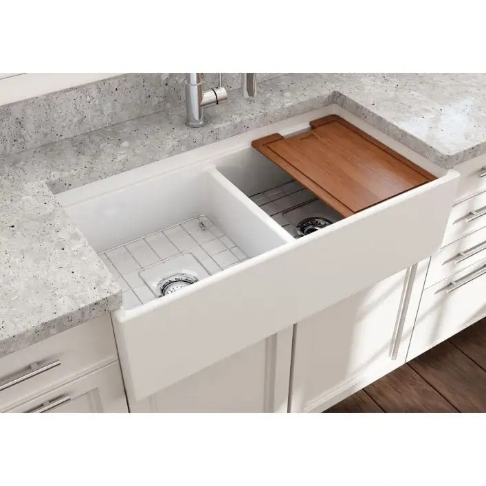contempo 36 in apron front step rim fireclay double bowl kitchen sink with grid and drain