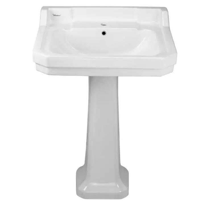 isabella china 23 1 2 inch single bowl pedestal sink white
