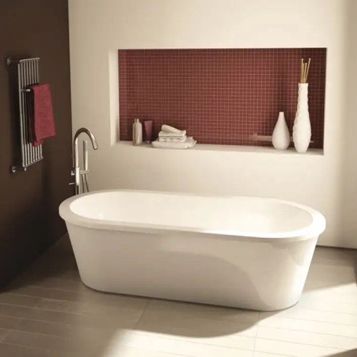 tranquility ii 60 inch acrylic double ended freestanding bathtub no faucet drillings white