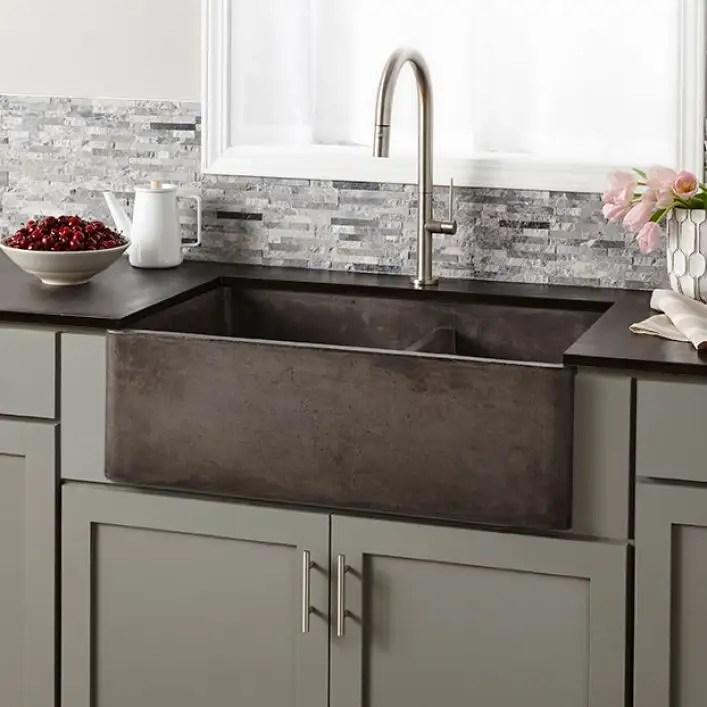 farmhouse double 33 inch nativestone apron front kitchen sink