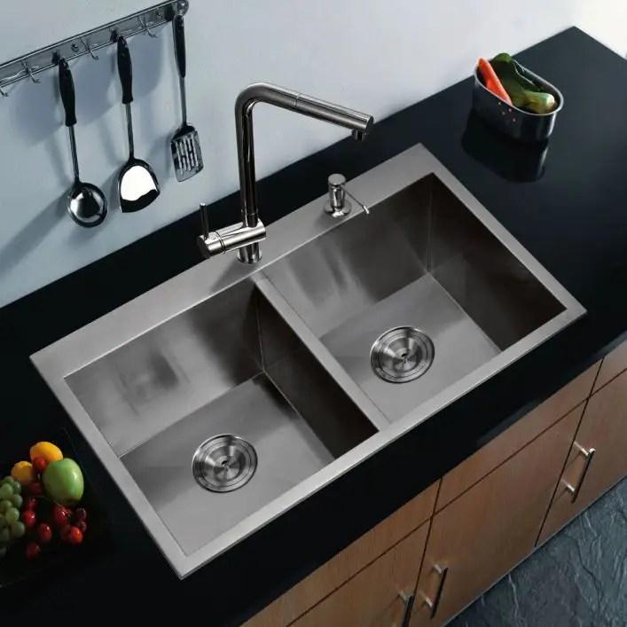 stainless steel 33 inch zero corner radius double bowl drop in kitchen sink
