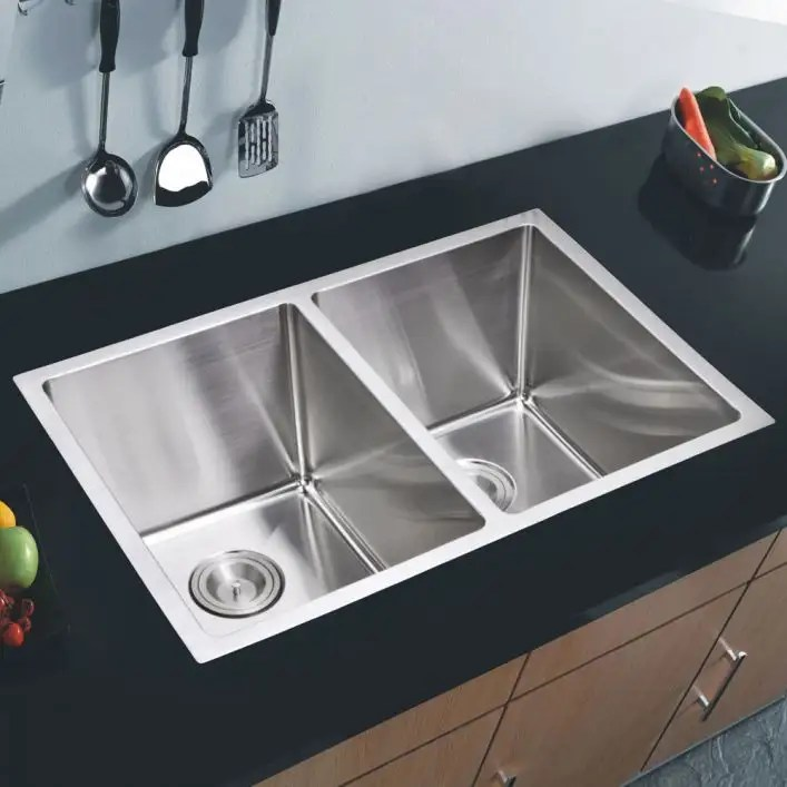 stainless steel 31 inch double bowl undermount kitchen sink with coved corners