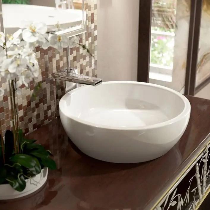 texture bowl round ceramic bathroom vessel sink glossy white