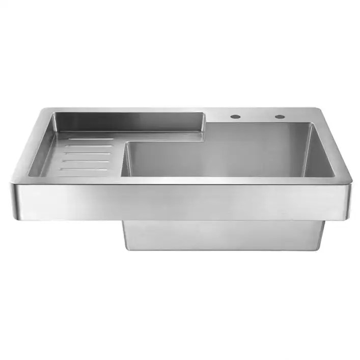 pearlhaus 33 inch single bowl drop in drain board utility sink 8 inch faucet drillings brushed stainless steel