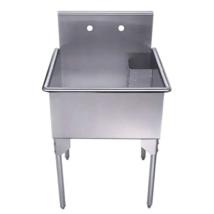 pearlhaus collection 24 inch brushed stainless steel freestanding utility sink stainless steel