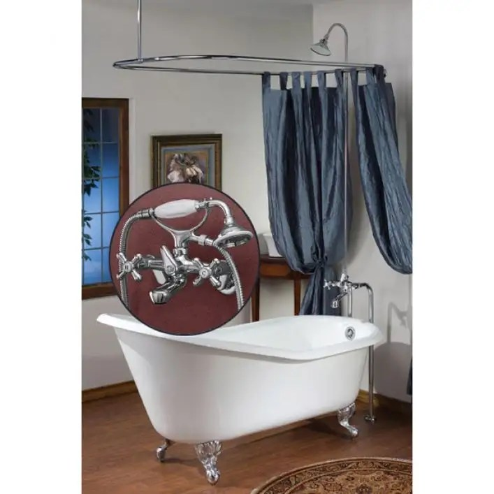clawfoot tub faucet with 24 x 42 shower enclosure and cross handles