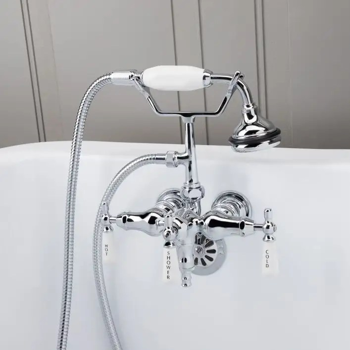 clawfoot tub wall mount downspout faucet with handshower