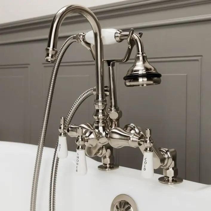 deck mount high spout clawfoot tub faucet w handshower
