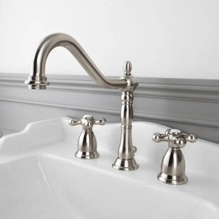 victorian widespread bathroom sink faucet metal cross handles