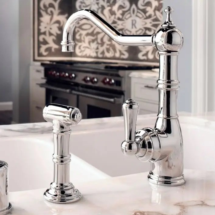 low lead perrin rowe single lever single hole kitchen faucet with spray