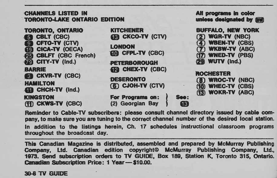 Vintage channel guide from Toronto-Lake Ontario Edition of