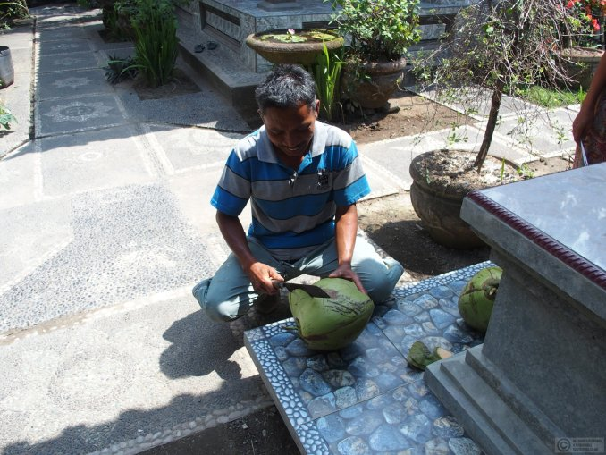 Made preparing one of his home grown coconuts for me at his family compound