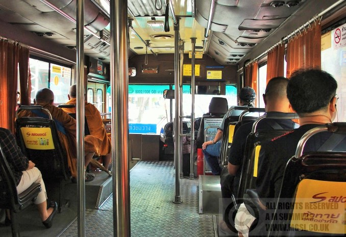 On board a 36 bus - note the monk near the front, in the reserved Monk seat!