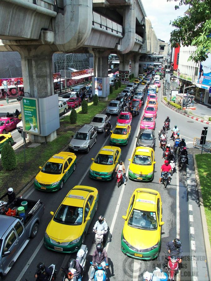 Situation normal near Siam Square - taxis going nowhere