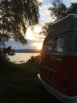Lola the Vintage VW Camper at sunset