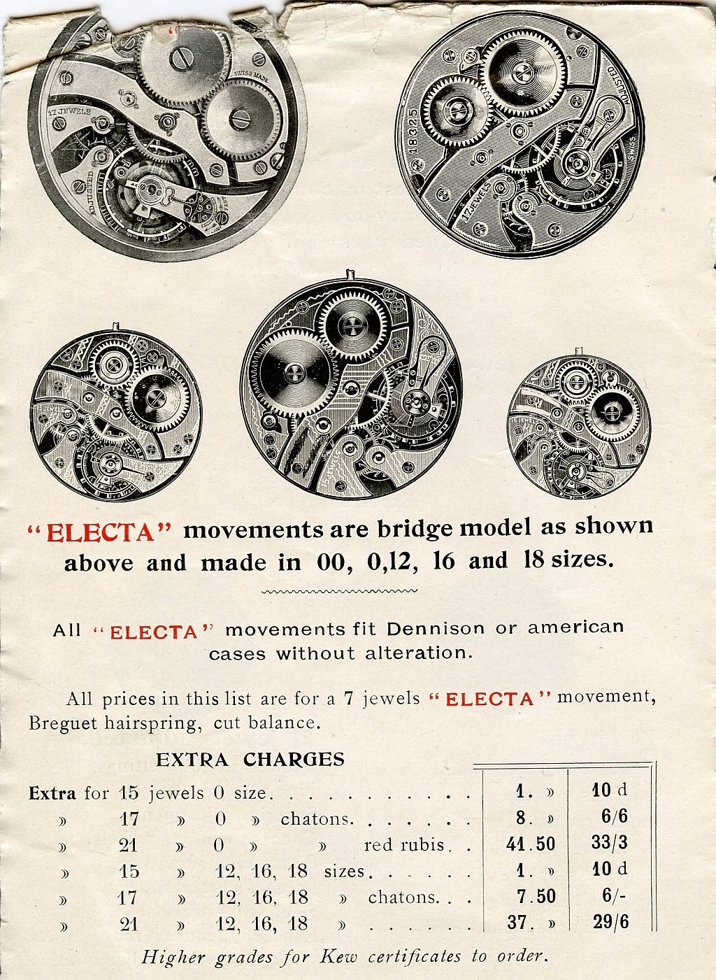 pocket watch movement diagram vn v8 ecu wiring technical details electa catalogue 1914