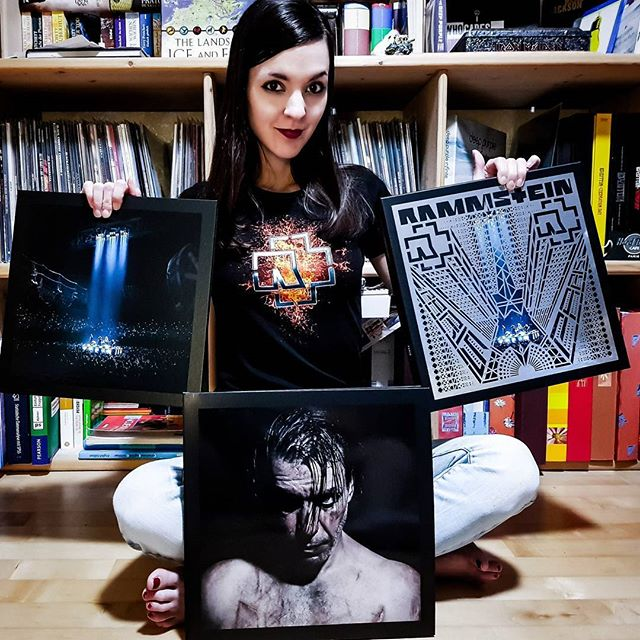 "Sandra with her copy of Rammstein's ""Paris"""