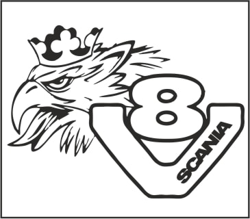 Scania V8 logo griffin truck sticker to make your truck