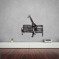 Banksy Giraffe On Bench Vinyl Wall Art Decal