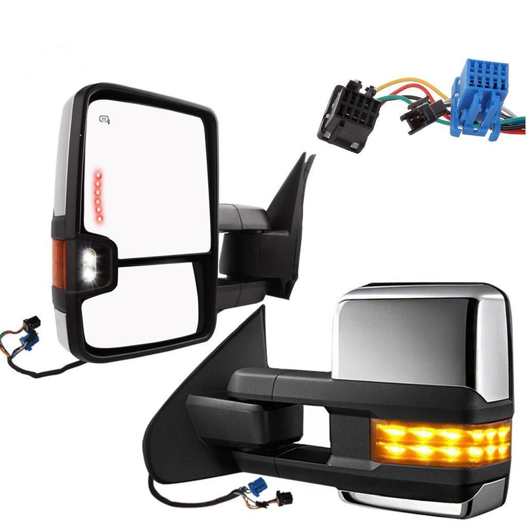 hight resolution of details about power heated backup yellow led turn chrome tow mirror for 03 06 silverado sierra