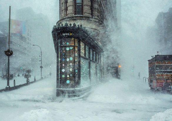 La ventisca y el edificio Flatiron en Nueva York, Estados Unidos (Michele Palazzo).