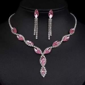 kristály köves alkalmi menyasszonyi bizsu nyaklánc
