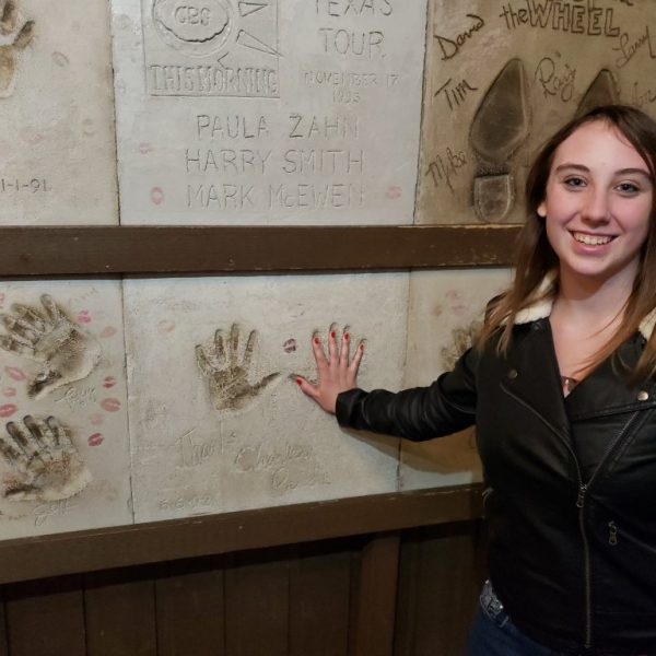 Violet Sky with Charlie Pride's handprint at Billy Bob's Texas, Fort Worth, Texas