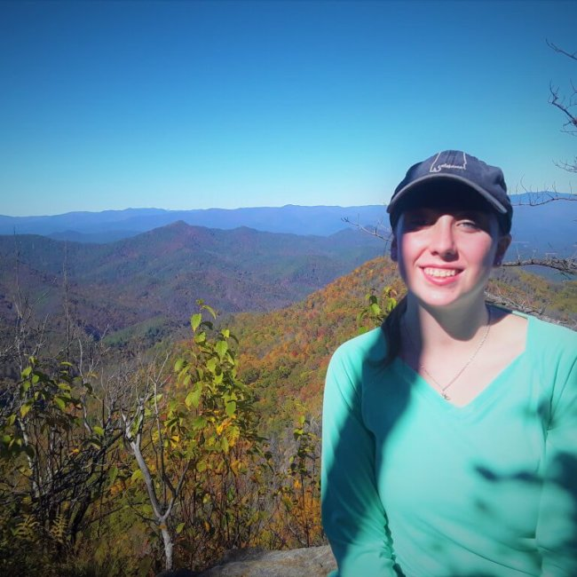 Violet Sky hiking the Appalachian Trail to Wesser Bald