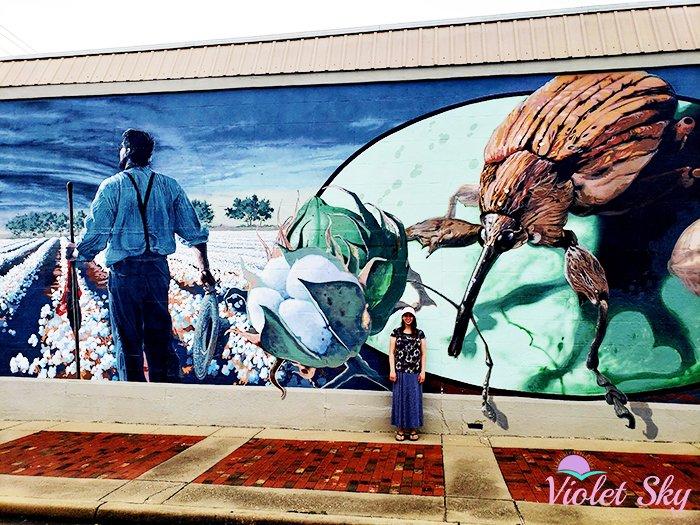 Violet Sky at the Boll Weevil Mural, Enterprise, Alabama (Photo Credit: Violet Sky)