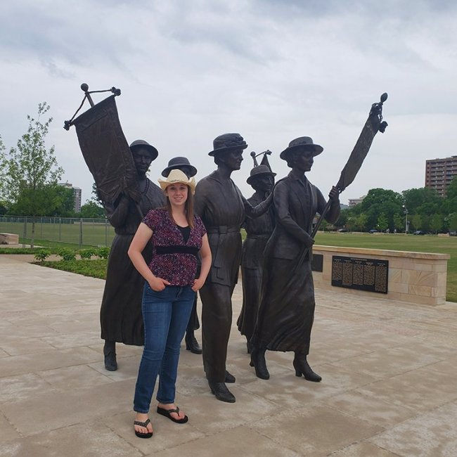 Violet Sky at the Tennessee Woman Suffrage Monument, Nashville, Tennessee (Photo Credit: Violet Sky)