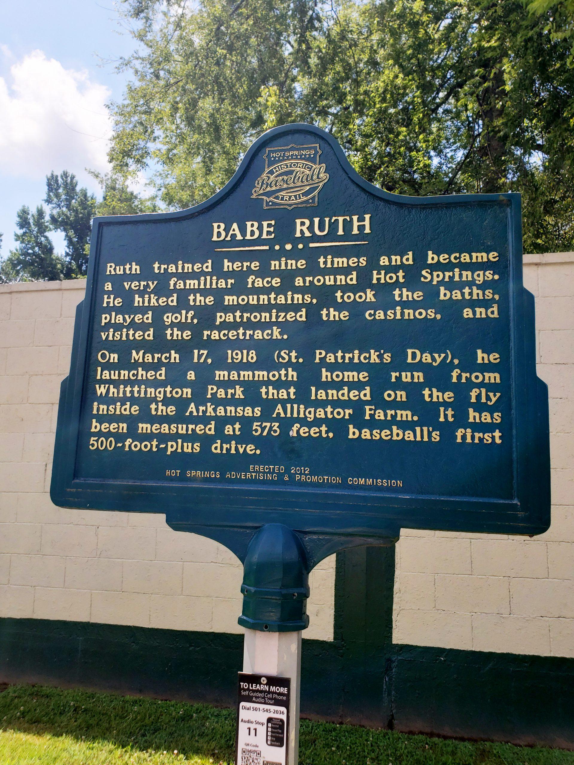 Babe Ruth Marker, Hot Springs, Arkansas (Photo Credit: Violet Sky)