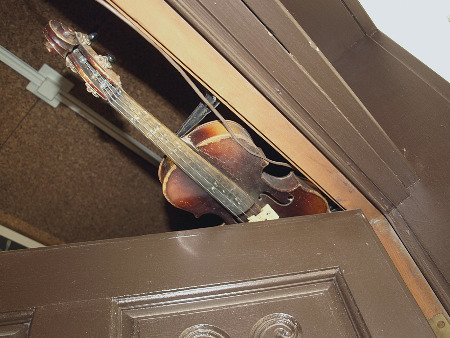 Close-up of the violin