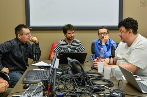 Készül a DTM 2016. február 23-i adása. Balról-jobbra: Szilágyi Árpád, Szalay Dániel, Pintér Róbert, Kovács Tücsi Mihály. Fotó: Igazi Violett