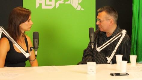 Fazekas Barbara (IVSZ) és Szilágyi Árpád az élő adás közben