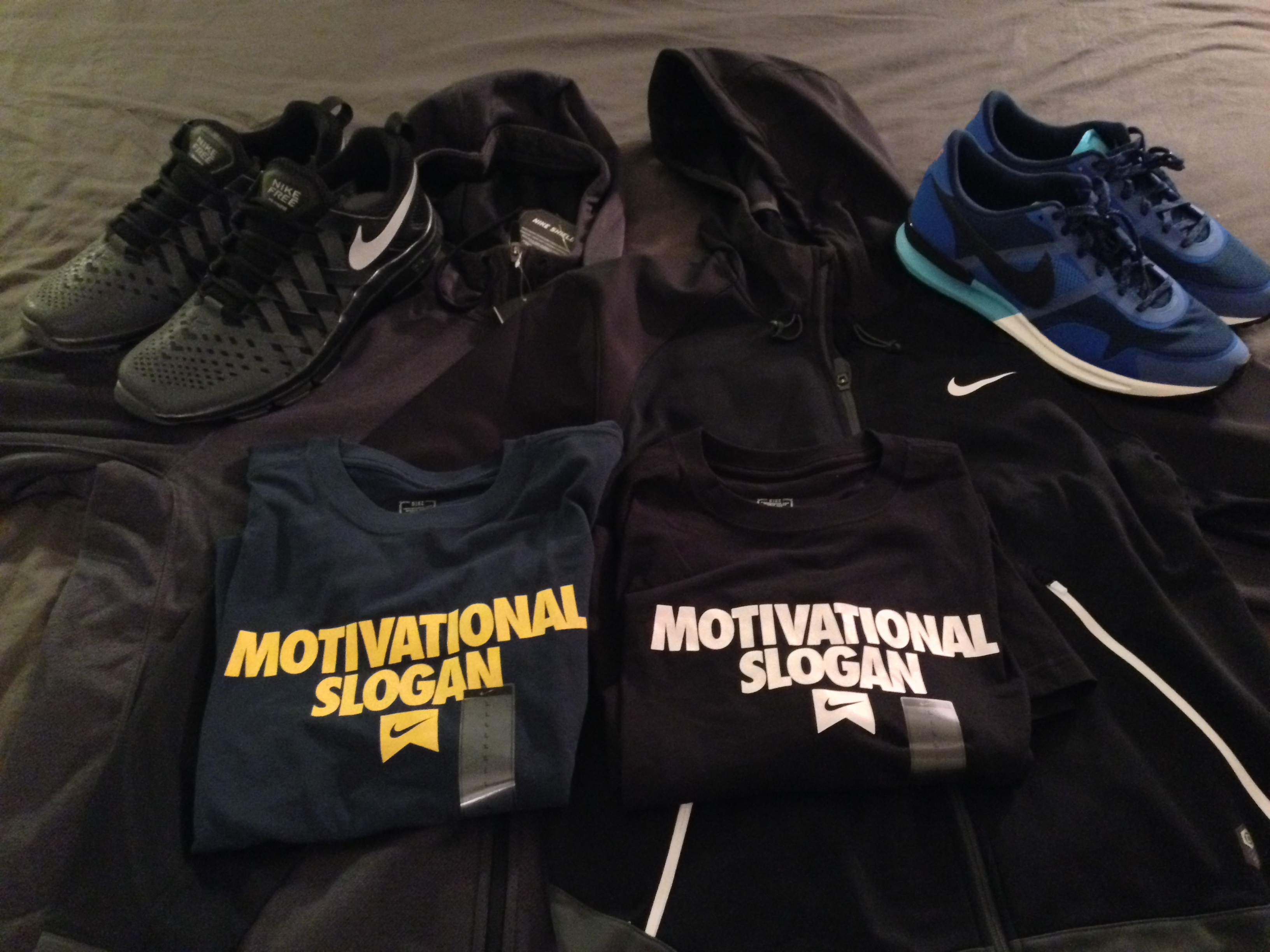 spoils from nike employee store com i picked up a pair of flexible trainer shoes for use walking and stuff like that a pair of normal shoes two sweet jackets and two shirts a
