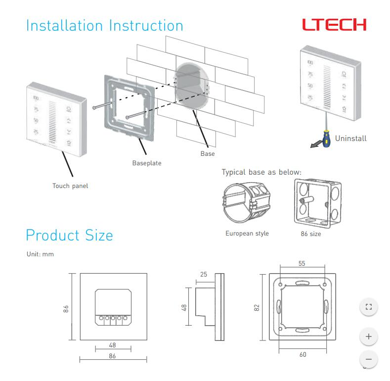 LTECH E1S-TD Series Touch Panel Dimming RF Wireless Wiring