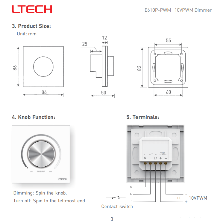 Ltech 0-10V Dimmer E610P-PWM RF+Knob Dimmer Panel