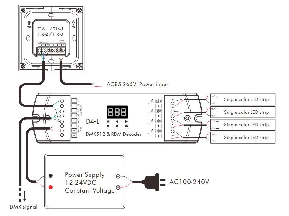 Skydance T16-2 2 Zones 2.4G Brightness Touch Panel Remote