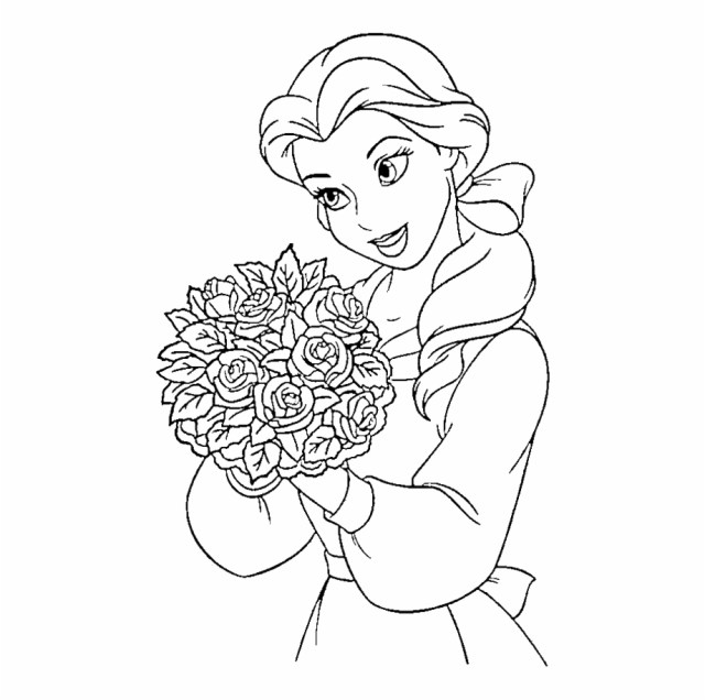 Disney Princess Belle Coloring Pages - Beauty And The Beast Belle