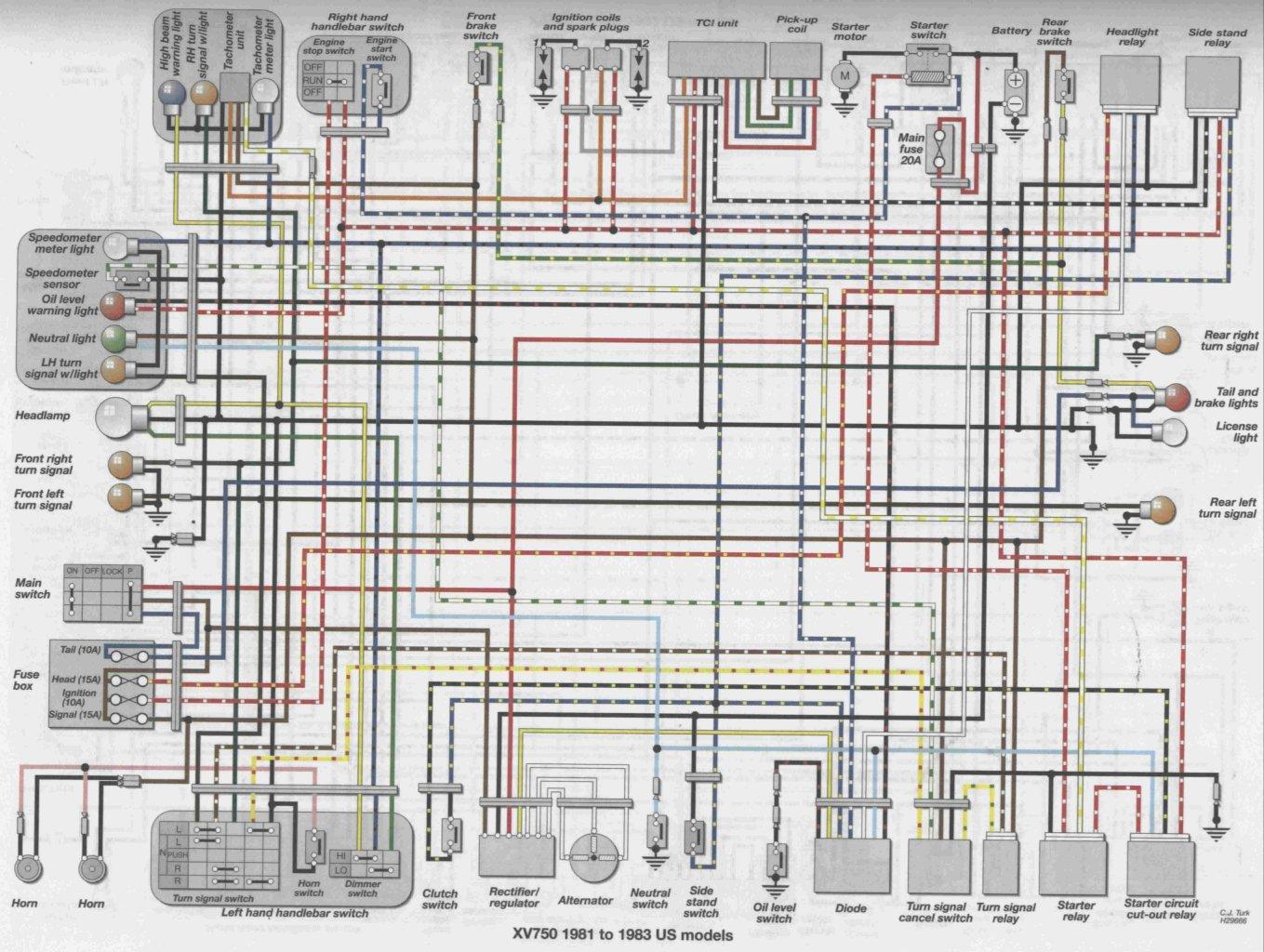xv750 wiring diagram machine repair manual  wiring diagram 1983 yamaha midnight maxim #4