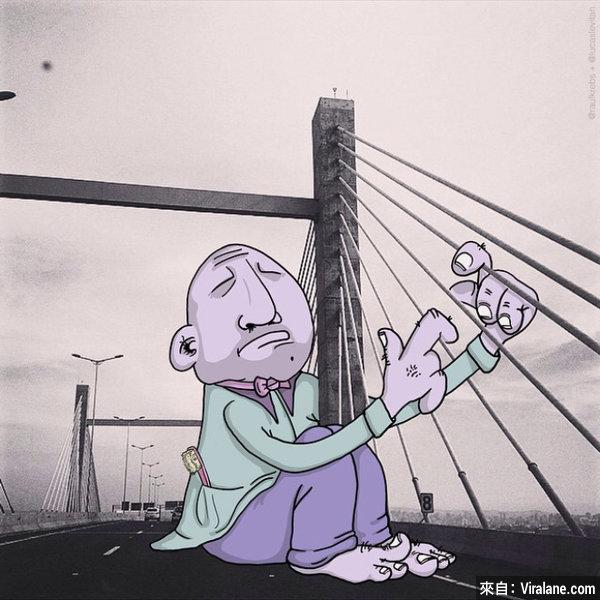 這名藝術家專門惡搞陌生人的照片,再酷的作品都變成搞笑卡通!