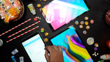 The newly-unveiled Samsung Galaxy Tab A with S Pen (left), Tab S5e (right), and Tab A 10.1 (top) are specially crafted for creators so they can live inspired wherever they are.