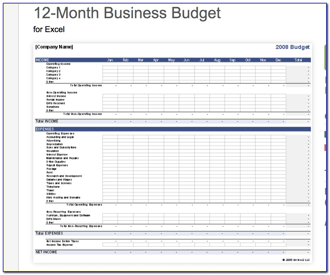 Business Budget Planning Template Excel