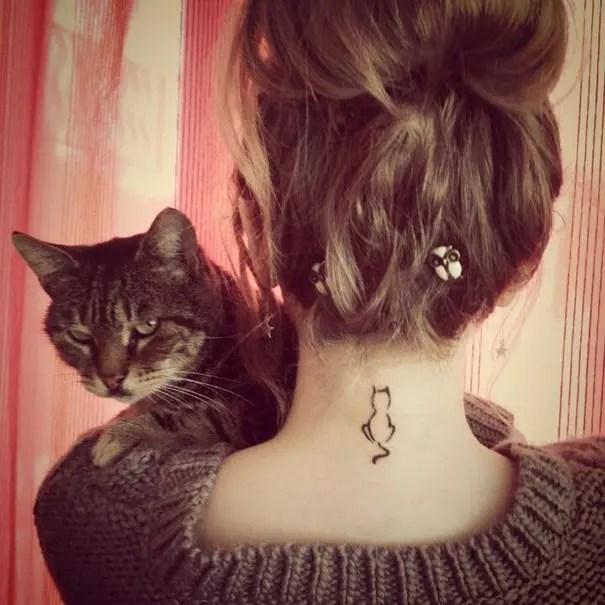 tatuaje minimalista de gatos6