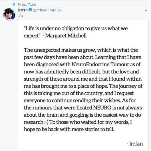 Irrfan Khan's Tweet