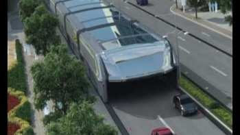 Futuristic Bus Straddles Roads Allowing Cars Underneath